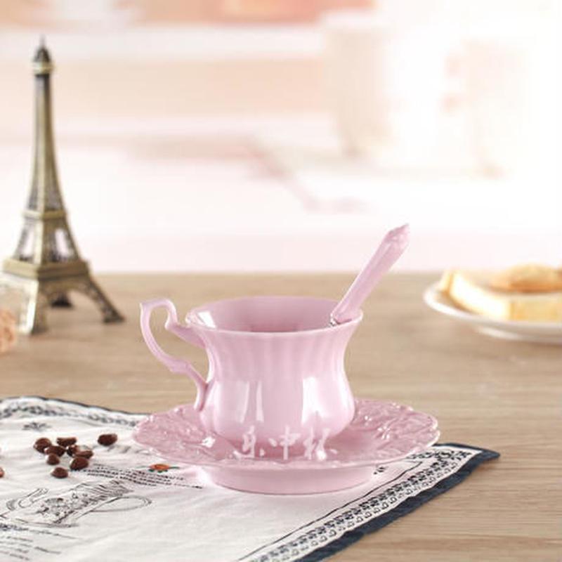 新品送料込 ティーカップ 180ml ソーサー スプーン ピンク 3点セット 磁器 コーヒー お茶会に 食器 高級装飾 贈り物
