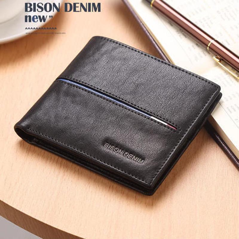 BISON DENIM  クレジットカードホルダー レザーウォレット メンズ  スリム