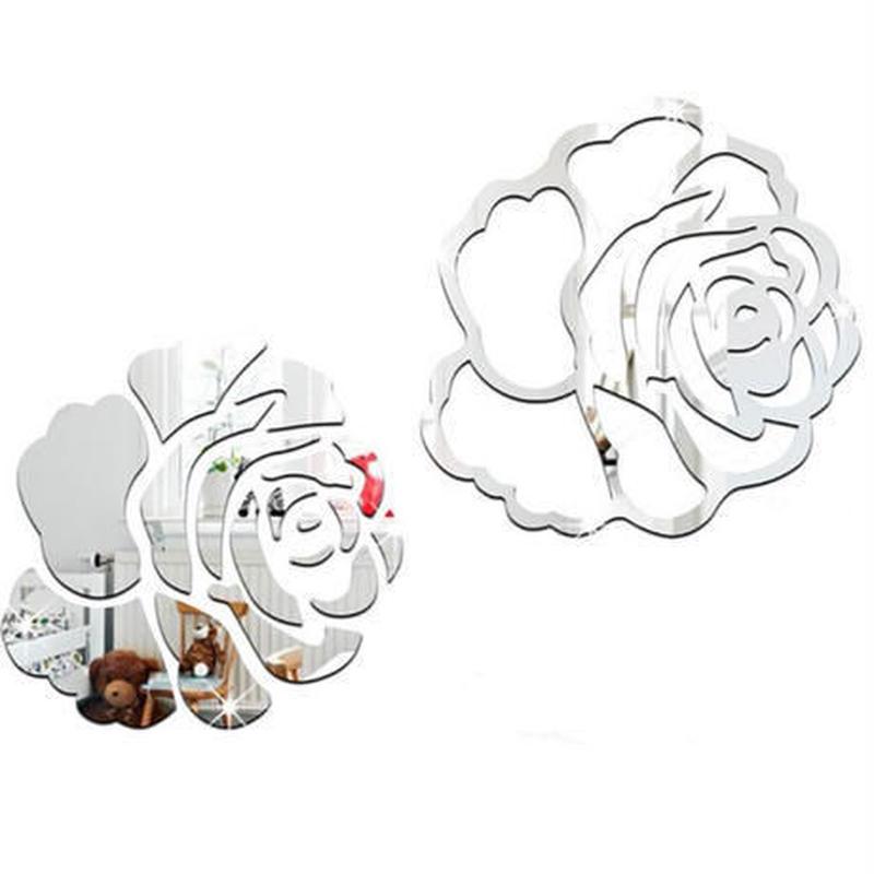 3Dウォールステッカー 鏡 ミラータイプ 薔薇 花 ローズ お洒落シール DIY キッチン 寝室 リビング トイレ 子供部屋
