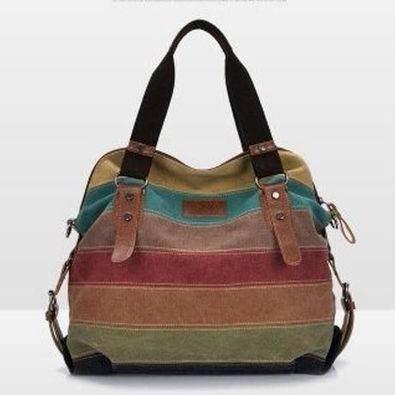 PHEDERA キャンバスバッグ ショルダーにもハンドバッグにも レディースバッグ パッチワーク カジュアル スモールサイズ