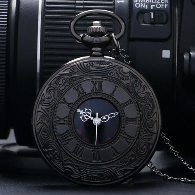 懐中時計 ヴィンテージ ブラック ユニセックス ファッション ローマ数字 クォーツ ポケットウォッチ チェーン付き