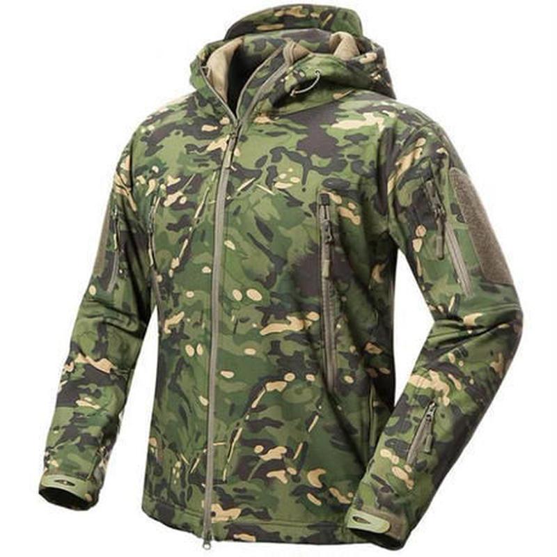 ソフトシェル ミリタリージャケット サバゲー向きフード付き迷彩マルチカム擬態 ミリタリーアウター上着 タフな素材