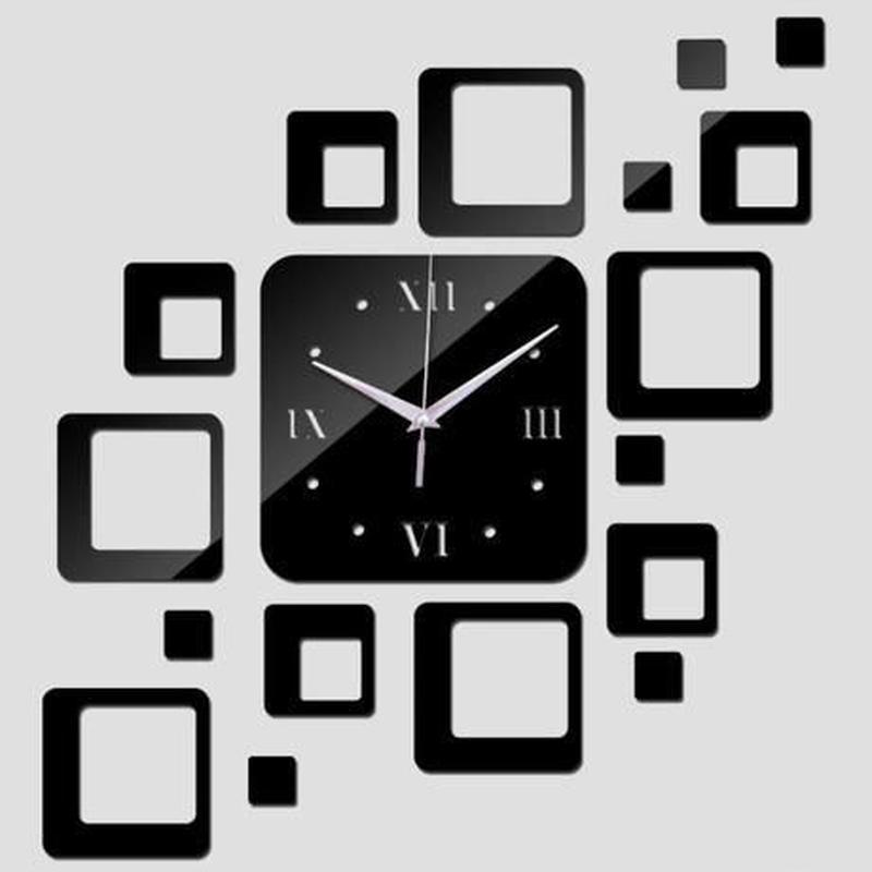 新品送料込★ 時計 壁掛け 3D 鏡 ミラー 四角型 デザイナーズ 北欧モダン DIY お洒落 面白 輸入雑貨 インテリア 高性能