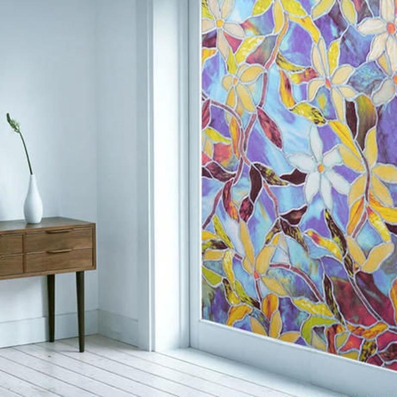 ウォールステッカー 窓用 ステンドグラスデザイン 花柄 紫 お洒落シール DIY キッチン 寝室 リビング トイレ 子供部屋