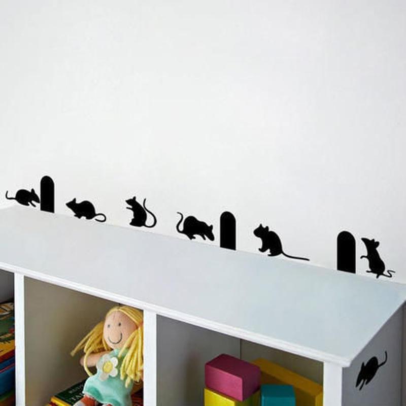 ウォールステッカー 影シルエット 鼠 ねずみ 黒 お洒落シール DIY キッチン 寝室 リビング トイレ 子供部屋