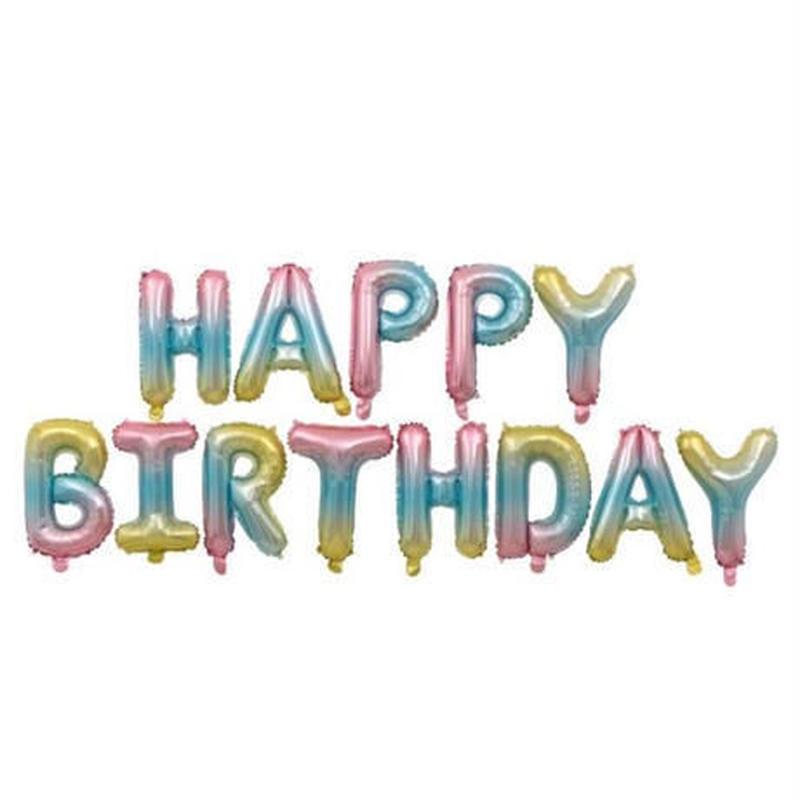 """お誕生日おめでとうロゴ デコ風船 """"HappyBirthday 飾り付けカラフルデザイン"""