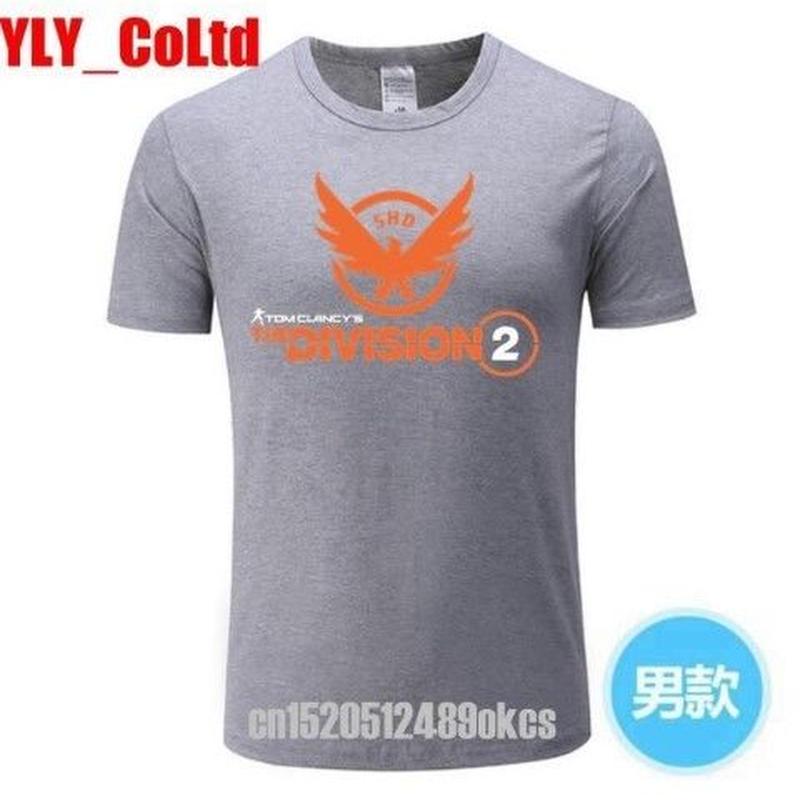 ディビジョン2 デザイン Tシャツ 灰色 半袖 ユニセックス ゲームグッズ Division2