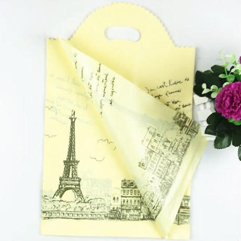 新品送料込 ギフトバッグ 手提げ袋 50枚セット パリ 黄色 25×40cm バレンタイン お誕生日会 ラッピング プレゼント