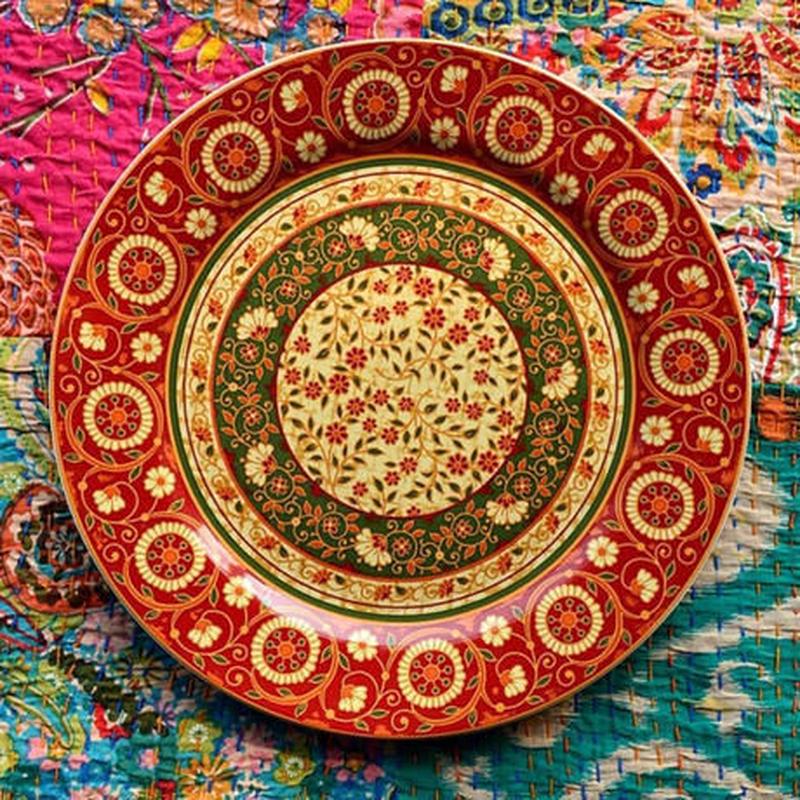 新品送料込 皿 セラミック 食器 海外 赤 花葉 ペルシャスタイル 高級 おしゃれ ホームパーティ