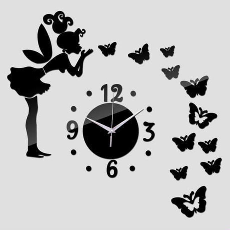 新品送料込★ 時計 壁掛け 3D 鏡 ミラー 妖精 蝶々 北欧モダン DIY お洒落 面白 輸入雑貨 インテリア 高性能