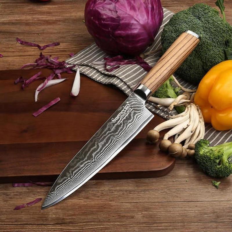Sunnecko プロ用 8インチシェフナイフ ダマスカススチール キッチンナイフ 日本のVG10ブレード ウッドハンドル