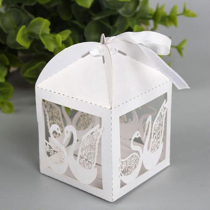 新品送料込 ギフトボックス 50個セット 白鳥デザイン 白 リボン付 バレンタイン お誕生日会 結婚式 ラッピング プレゼント