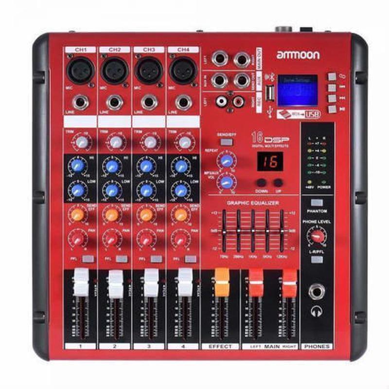デジタルブルートゥース 4チャンネル マイクラインオーディオミキサー録音用DJミキサーカラオケ 2バンドEQ