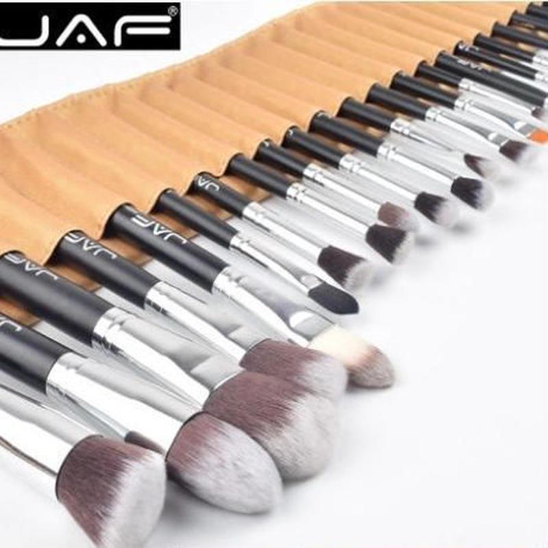 JAF 収納ポーチ付き 24pcs プロフェッショナル メイクアップブラシ 高品質 スタジオ メイクアップツールキット J2404YC-B