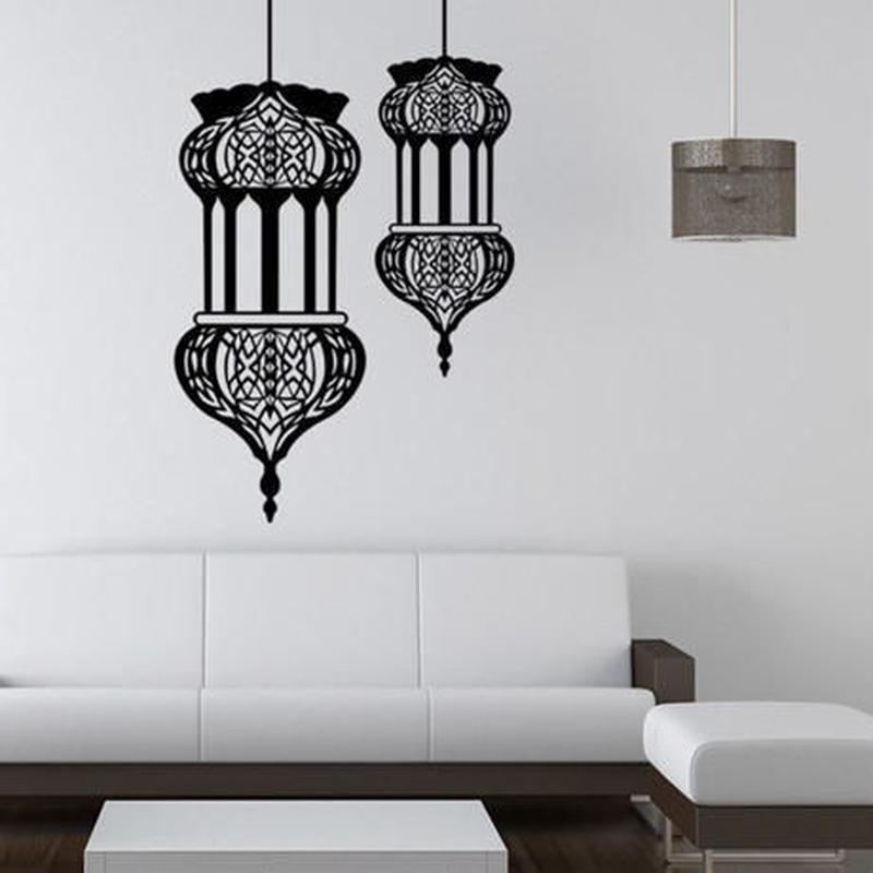 ウォールステッカー 黒 イスラム柄 ムスリム 国際的 お洒落シール DIY 壁 キッチン 寝室 リビング トイレ 子供部屋