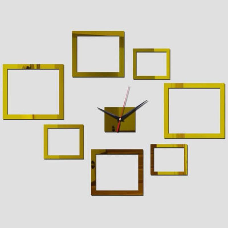 新品送料込★ 時計 壁掛け 3D 鏡 ミラー 四角 デザイナーズ 北欧モダン DIY お洒落 面白 輸入雑貨 インテリア 高性能
