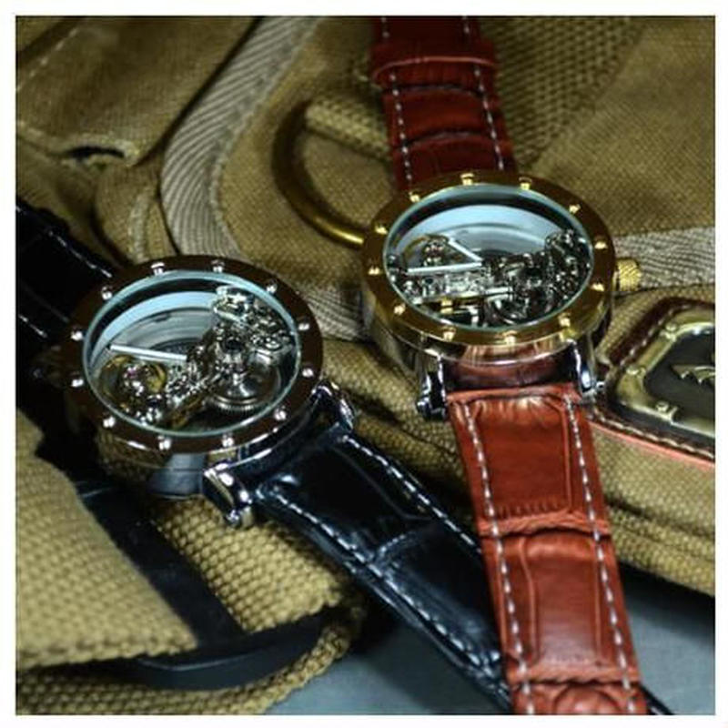 TIEDAN メンズ 機械式時計 自動巻 スケルトン トゥールビヨン 革バンド