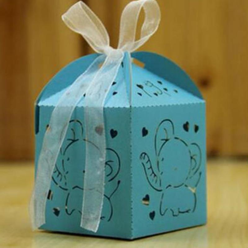 新品送料込 ギフトボックス 50個セット ぞうデザイン リボン付 バレンタイン お誕生日会 結婚式 ラッピング プレゼント