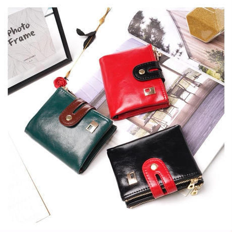 Prettyzys 3色展開 女性の財布 ヴィンテージ 小オイルワックス PUレザー カードホルダー コイン