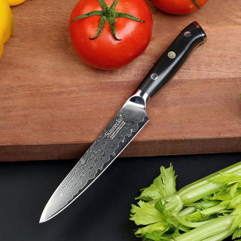 Sunnecko プロフェッショナル ダマスカス鋼 5 インチユーティリティナイフ スライスカッター