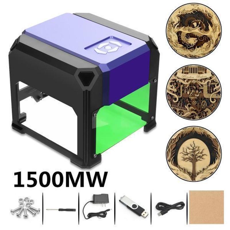 レーザー彫刻機 レーザーカッター cncルーター DIY ミニレーザー彫刻機 AC100-240V 1500mW 自作DIY