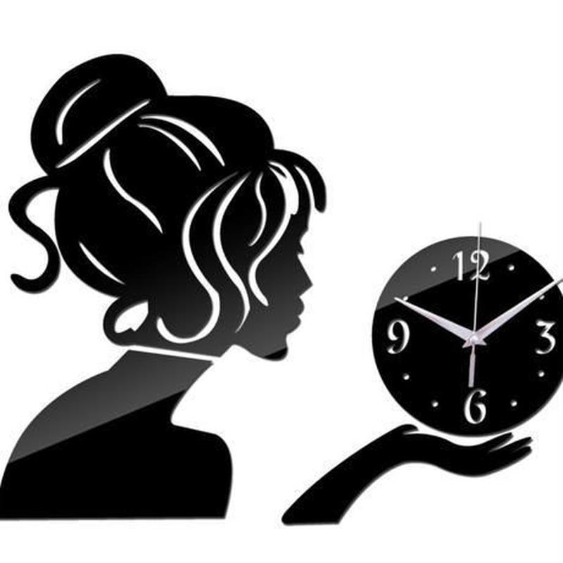 新品送料込★ 時計 壁掛け 3D 鏡 ミラー 女性 デザイナーズ 北欧モダン DIY お洒落 面白 輸入雑貨 インテリア 高性能