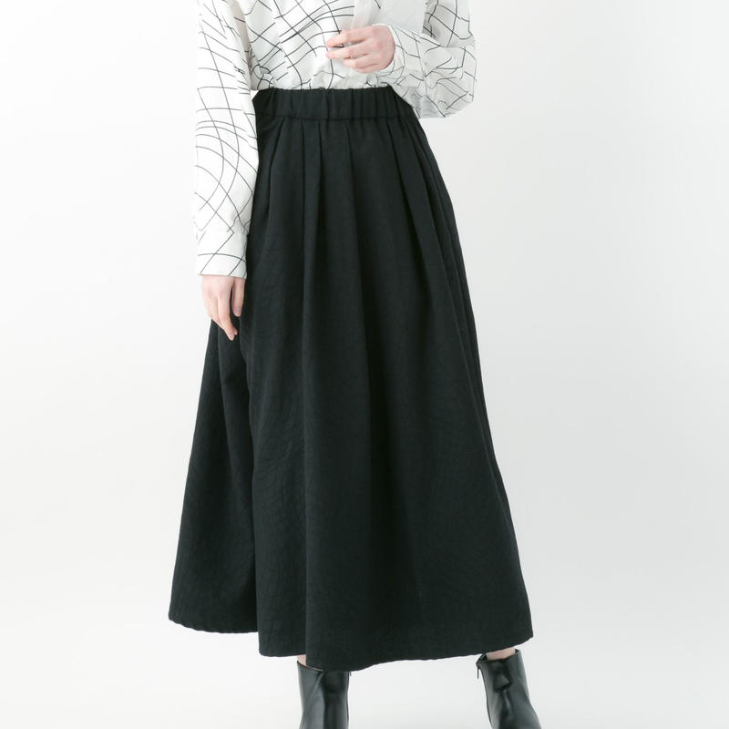 【19-20A/W 受注予約商品】Distortion jacquard skirt pants (RED , BLACK)