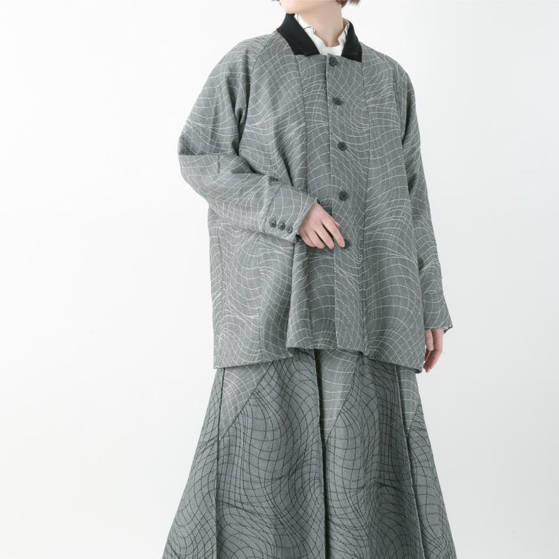 【19-20A/W 受注予約商品】Distortion jacquard jacket (GRAY , RED , CHACOAL , BLACK)