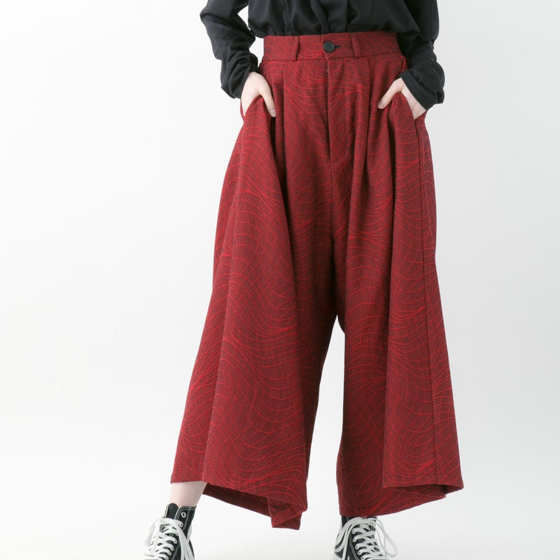 【19-20A/W 受注予約商品】Distortion jacquard wide pants (GRAY , CHACOAL , RED , BLACK)