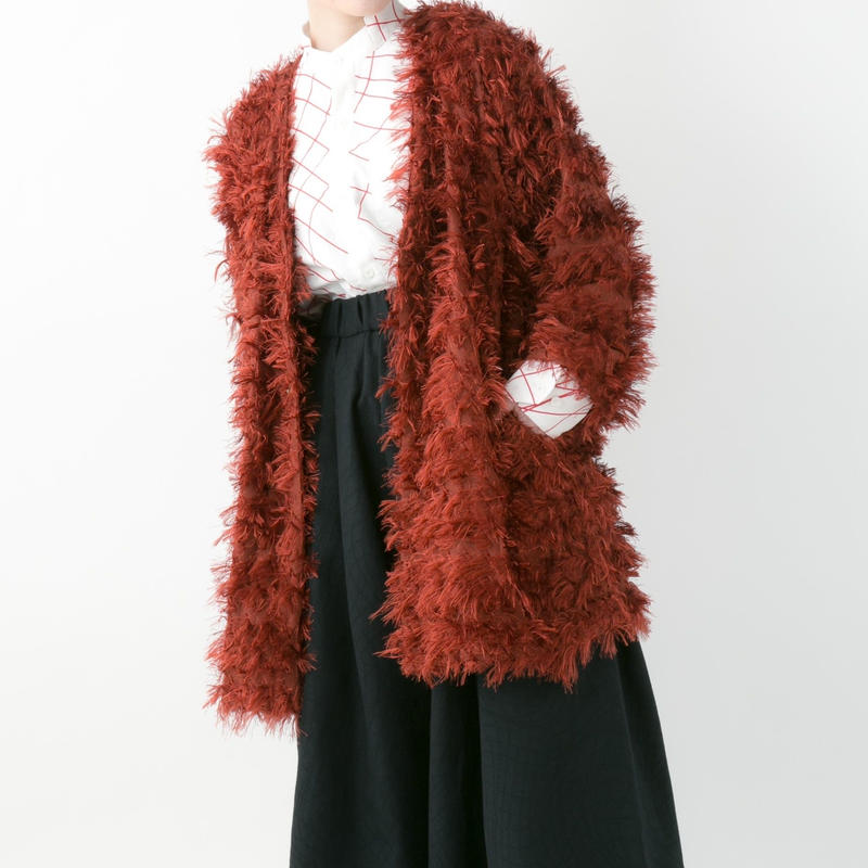 【19-20A/W 受注予約商品】Fringe cardigan (RED , BLACK)