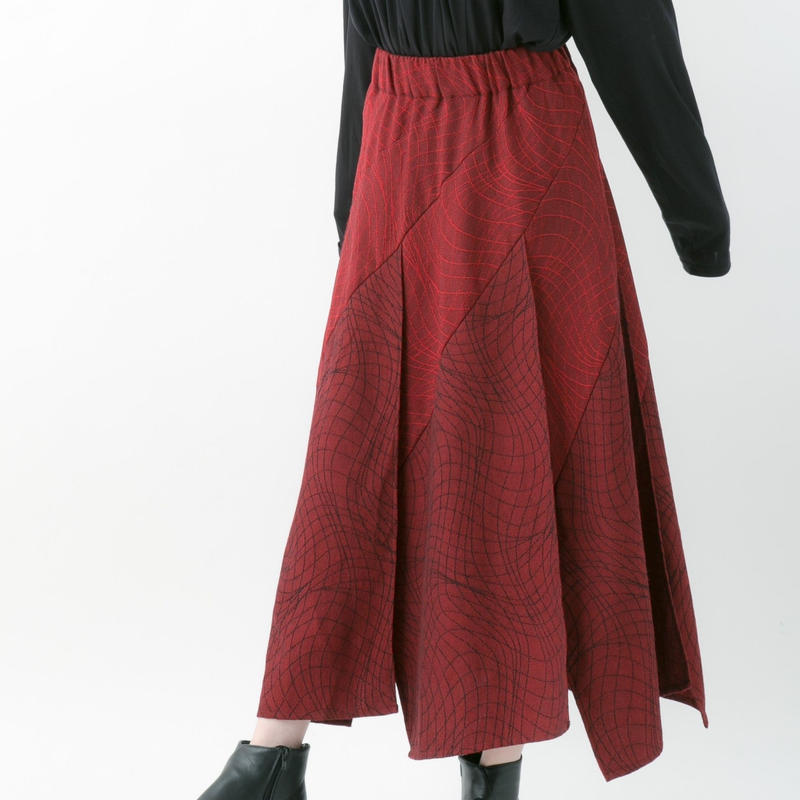 【19-20A/W 受注予約商品】Distortion jacquard skirt (RED , GRAY , CHACOAL , BLACK)