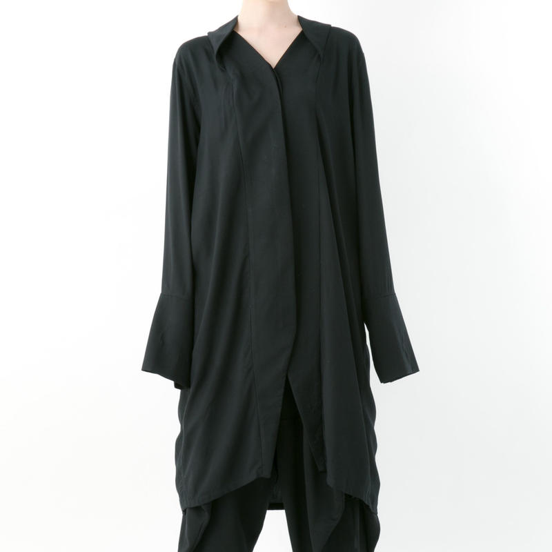 【19-20A/W 受注予約商品】《BLACK by -niitu-》 Rayon shirt (BLACK)