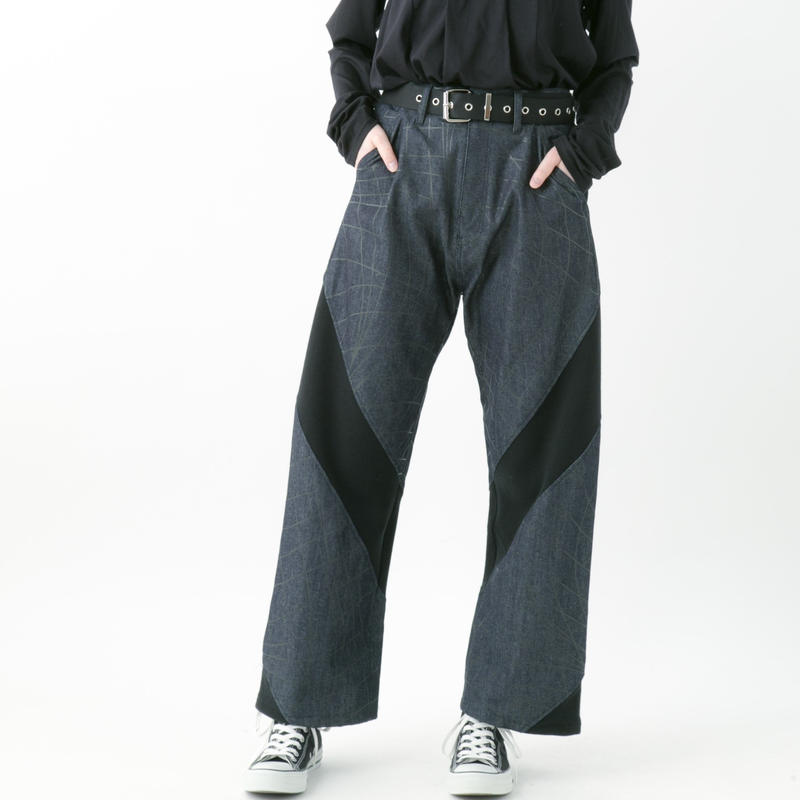 【19-20A/W 受注予約商品】Distortion denim pants (INDIGO , BLACK)