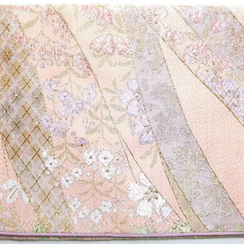 002PI-GWK-A 金襴 佐賀錦調 金銀しだれ桜 珊瑚色 (御朱印帳約16cmx11.5cm対応)