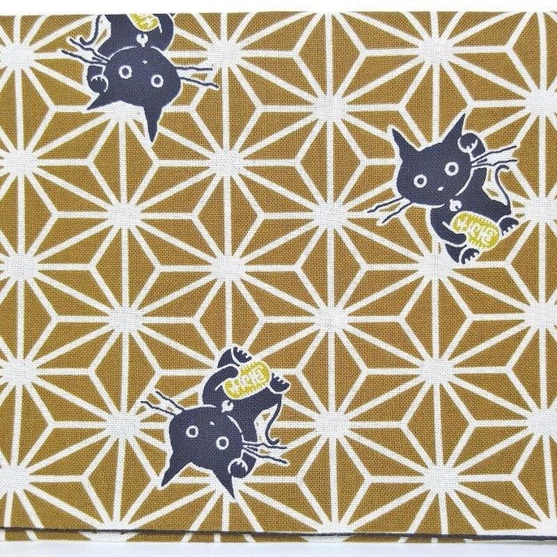 019BR-GWM-A 麻の葉 猫に小判 黄土 (御朱印帳約16cmx11.5cm対応)