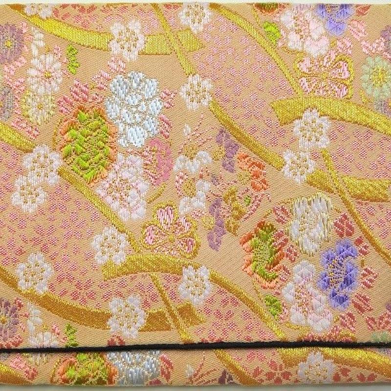 772PI-GWK-A 金襴 小桜地に花丸リボン クリーム (御朱印帳約16cmx11.5cm対応)