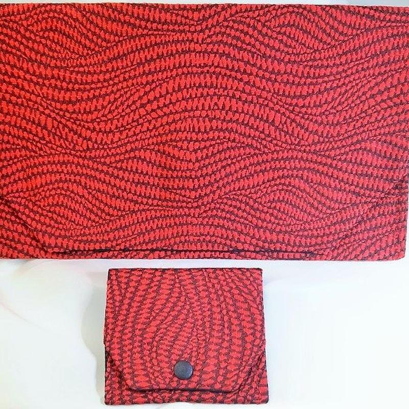 S03RE-LWK-A 正絹西陣織フクレ織り 赤 セット (約18.5cm×12.5cm御朱印帳対応)