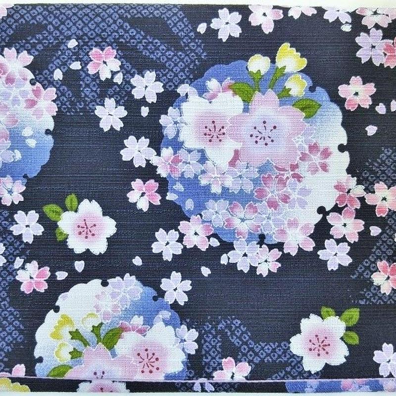 005BL-GWM-D 地模様に桜咲く 黒(御朱印帳約16cmx11.5cm対応)