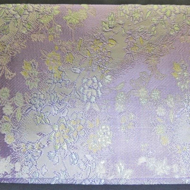 009BT-LWK-A 金襴 流水に小花 パープル(約18.5cm×12.5cm御朱印帳対応)