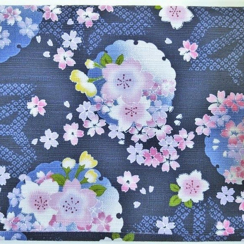 005BL-GWM-E 地模様に桜咲く 黒(御朱印帳約16cmx11.5cm対応)