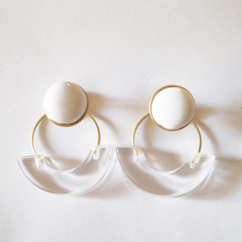七宝semicircle_white pierce/earring