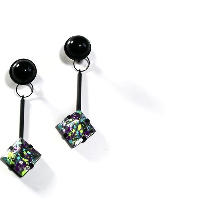 paint furiko _ purple x black pierce / earring