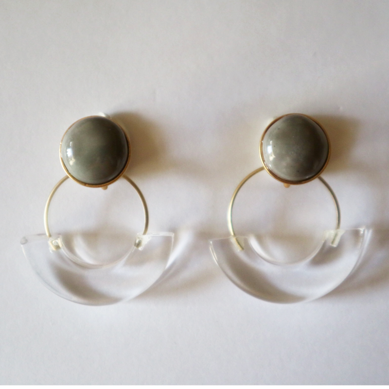 七宝semicircle_gray pierce/earring