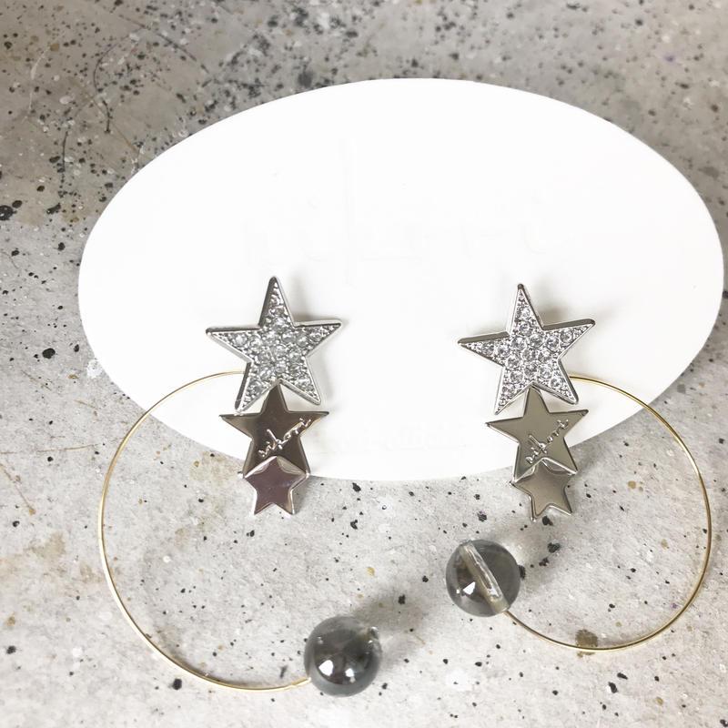 PLANET- crystal _ silver  pierce / earring
