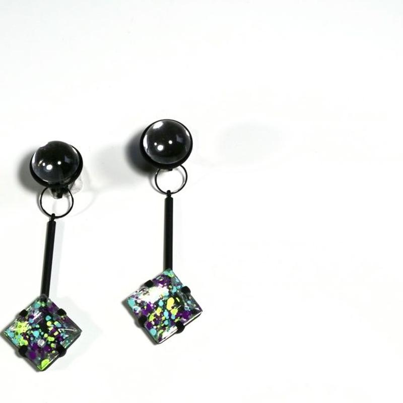 paint furiko _ purple x clear pierce / earring