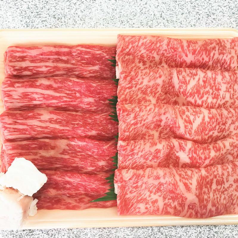 【ネット限定】稲葉牛すき焼き2種(肩ロース・モモ)食べ比べ700g