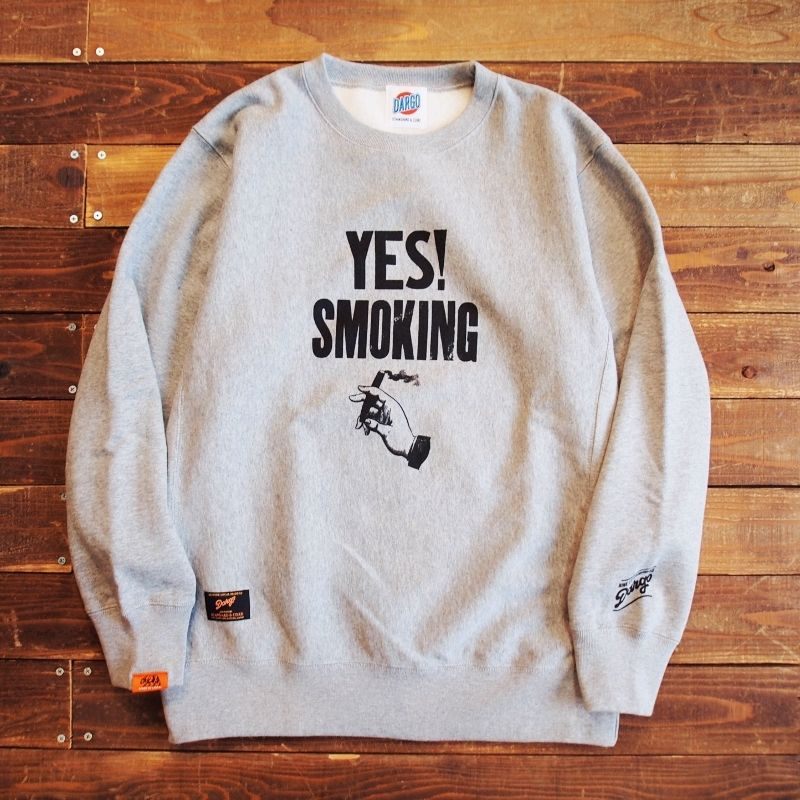 "【DARGO × NINE LETTER PRESS】 ""YES!SMORKING"" Heavy Weight Crew Sweat"