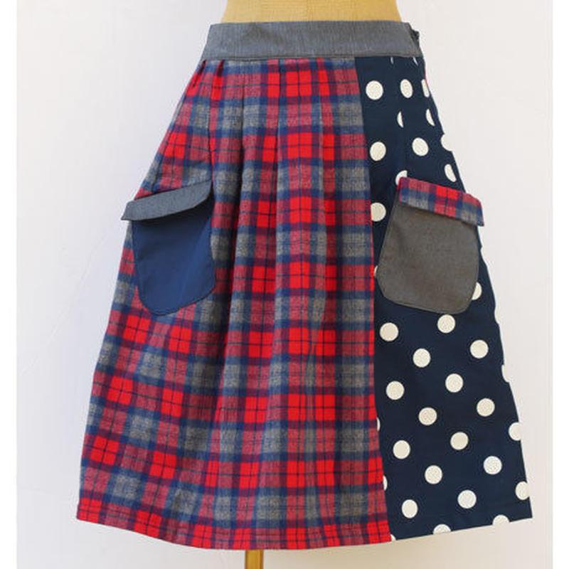 お手伝いスカート~チェック×ドット~
