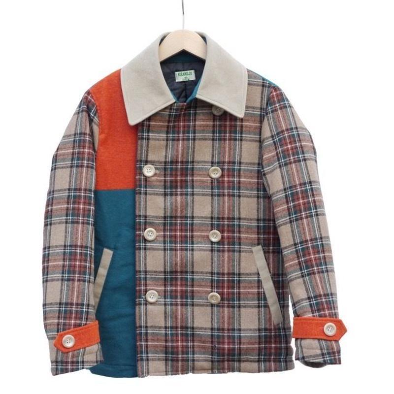暖か~気まぐれピーコート。 オレンジ×グリーンチェック