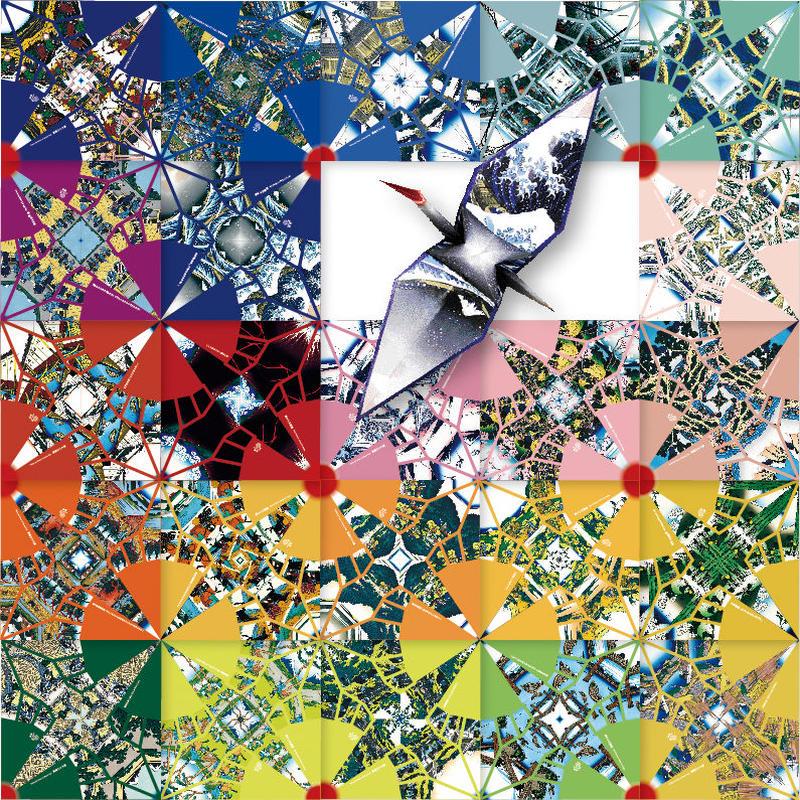 鶴を折ると富嶽三十六景があらわれる折り紙 錦折鶴 -錦折万華鏡- Vol.01